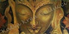 Buddha Il Moto della Libertà - Divinità Orientale Tecnica: Misto Materico Pigmentato su Legno