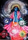 Shiva - Divinità Orientale Tecnica: Misto Materico Pigmentato su Tela