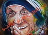 La piccola Matita di Dio, dedicato a Madre Teresa di Calcutta - Divinità Orientale ed Occidentale Tecnica: Misto Materico Pigmentato su Tela
