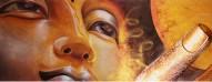 Buddha Il Sole - Divinità Orientale Tecnica: Misto Materico Pigmentato su Legno