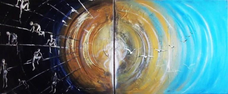 Titolo: Sonno Risveglio Libertà - Misto Materico Pigmentato su Tela